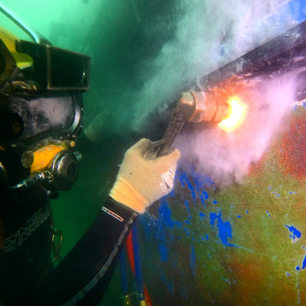 Diver using the pvl cutting torch